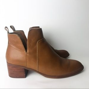 Franco Sarto Brown Leather Cutout Booties Rosie